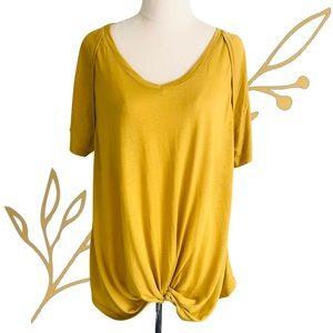 ELM Mustard Knot / Twist Front Short Sleeve Tee